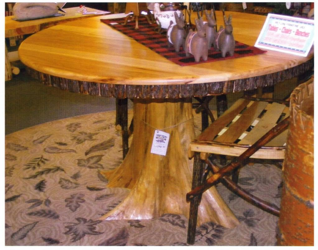 "amish rustic dining table 48"" round tree trunk stump root base"