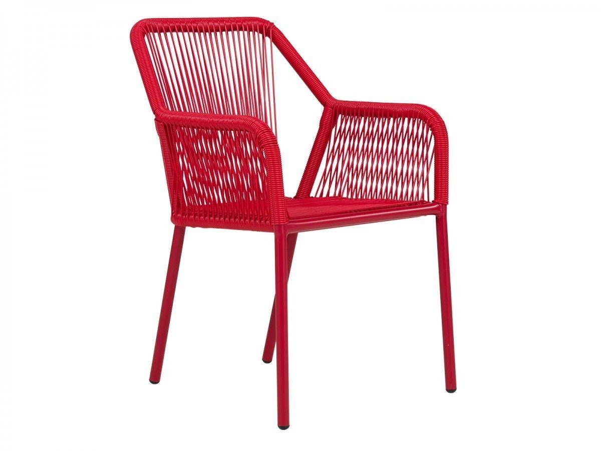 Gartensessel kunststoff  2x Gartenstuhl Sessel rot Kunststoff Rattan Gartenmöbel ...