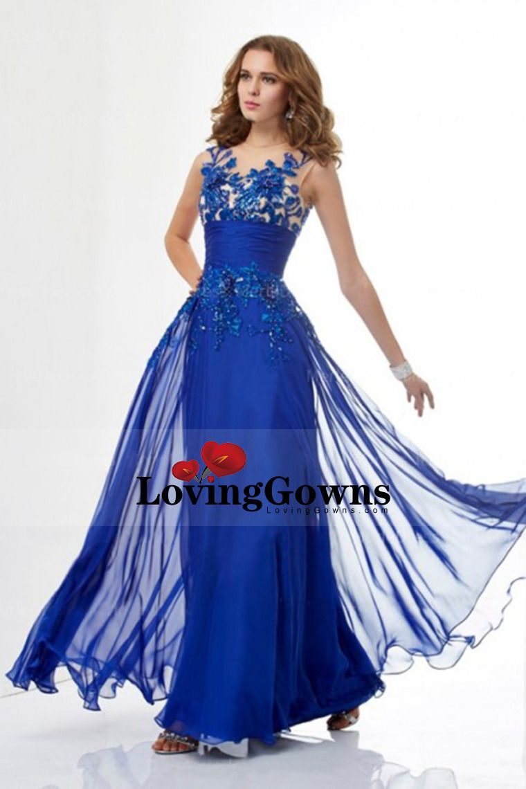 Prom Dress Scoop Sweep Train Embroidery 2014 New Style