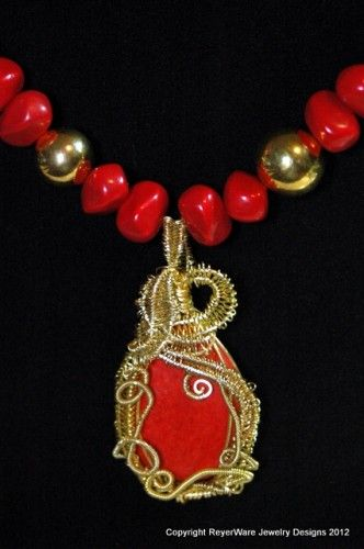 Faux coral and gold wirewrapped necklace | ReyerWare - Jewelry on ArtFire