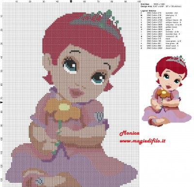Schema punto croce piccola baby Ariel 100x149 17 colori.jpg (3.62 MB) Mai osservato