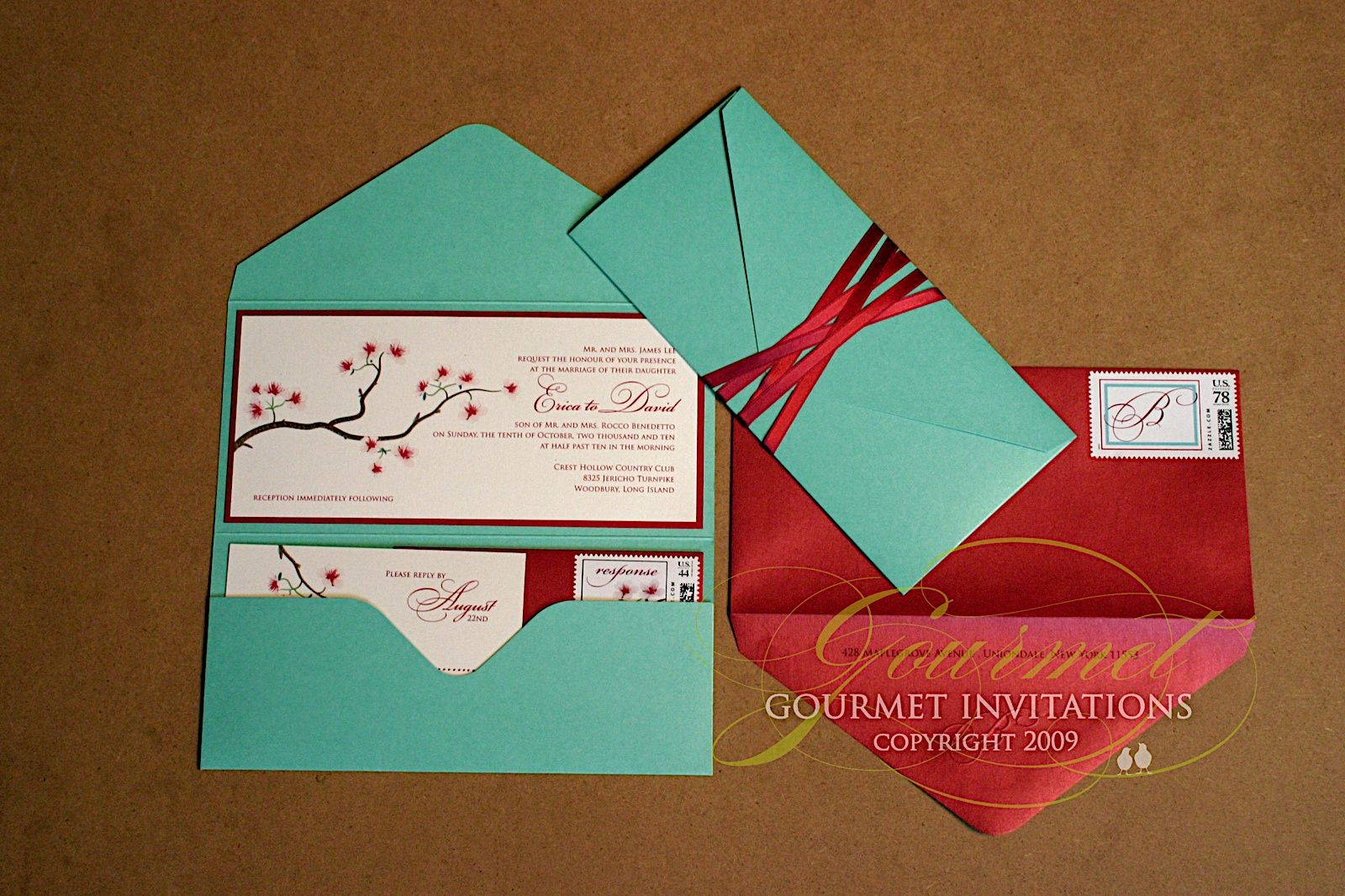 Teal And Red Wedding Invitation Design Ideas