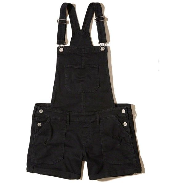0c73998e5d Hollister Denim Short Overalls (14.700 HUF) ❤ liked on Polyvore featuring  jumpsuits, rompers, ripped black, denim short overalls, short overalls and  denim ...