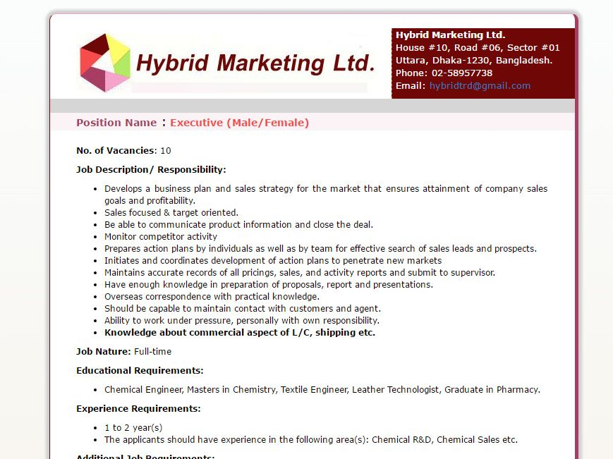 Hybrid Marketing Ltd Executive MaleFemale Job Circular
