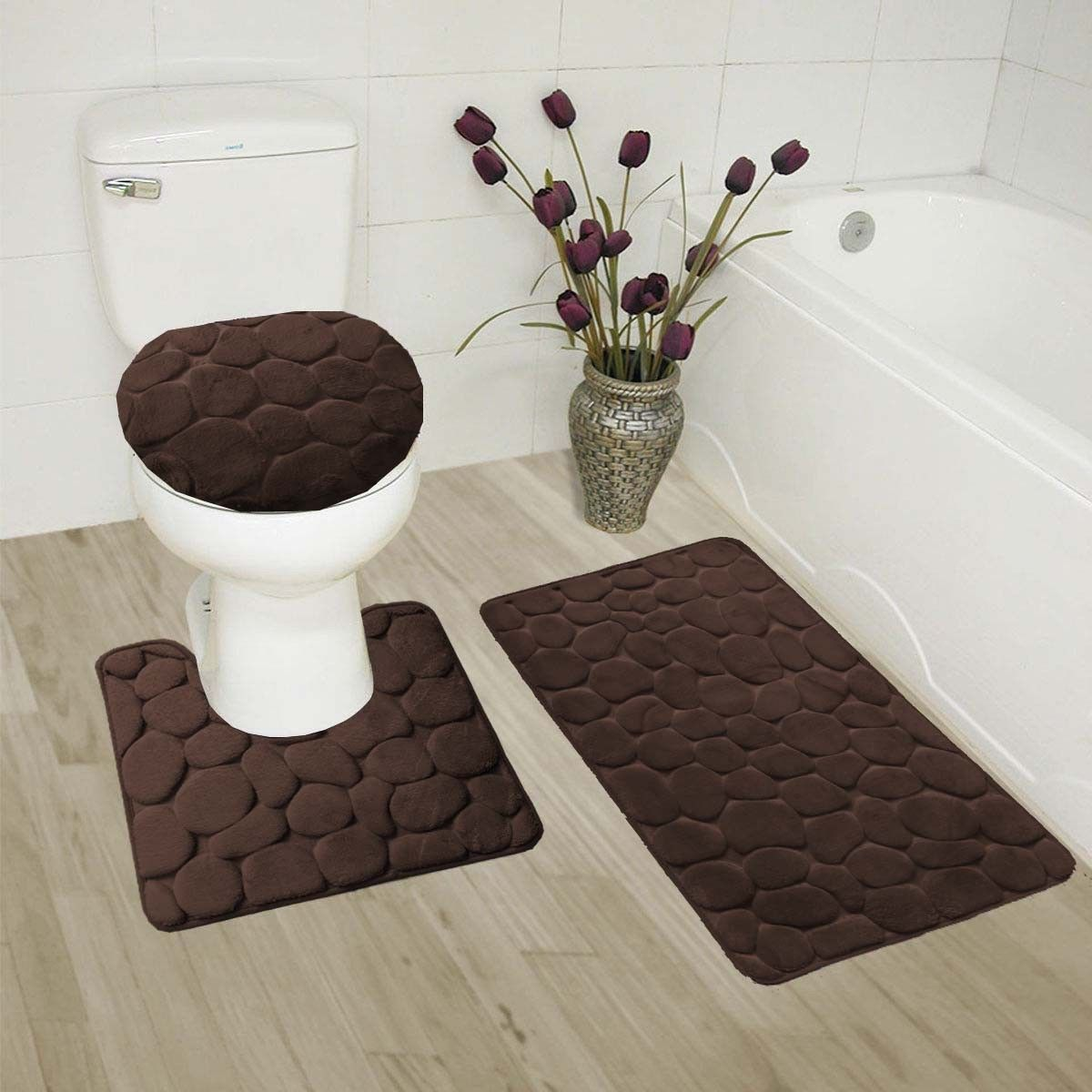 Bathmats Rugs And Toilet Covers 133696 Rock Coffee 3pc Embossed