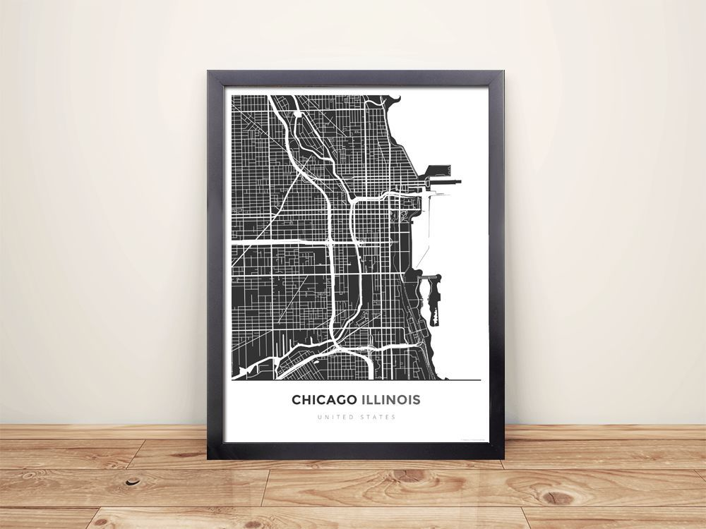 Framed Map Poster of Chicago Illinois