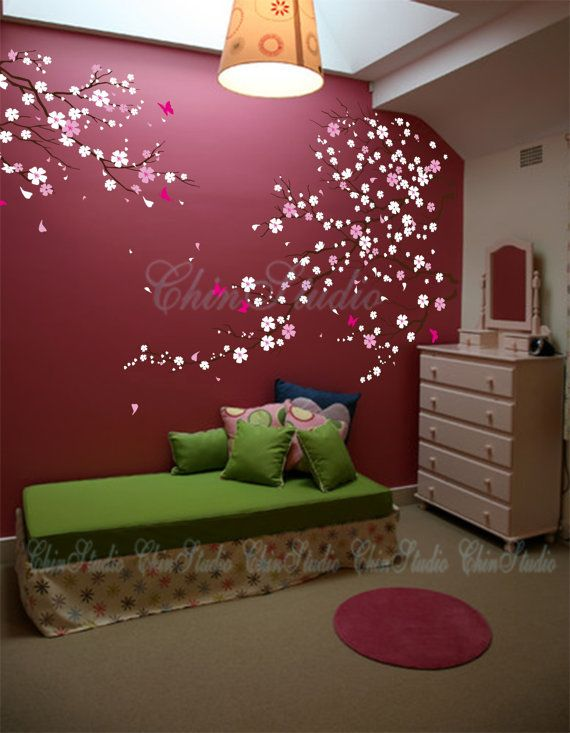 Tree wall decal baby girl nature tree wall mural nursery for Cherry blossom tree wall mural