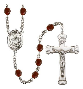 St. Lawrence Silver-Plated Rosary with 6mm Garnet Fire Polished beads