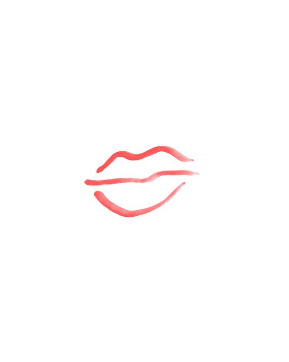 Simple Red Lips Print Red Watercolor Lips Printable Instant