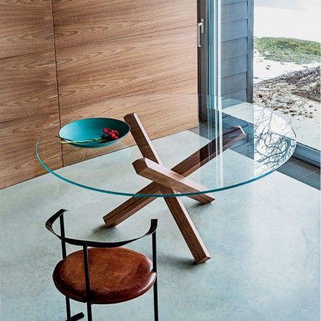 table en verre design ronde aikido sovet - Pied Pour Table Basse En Verre