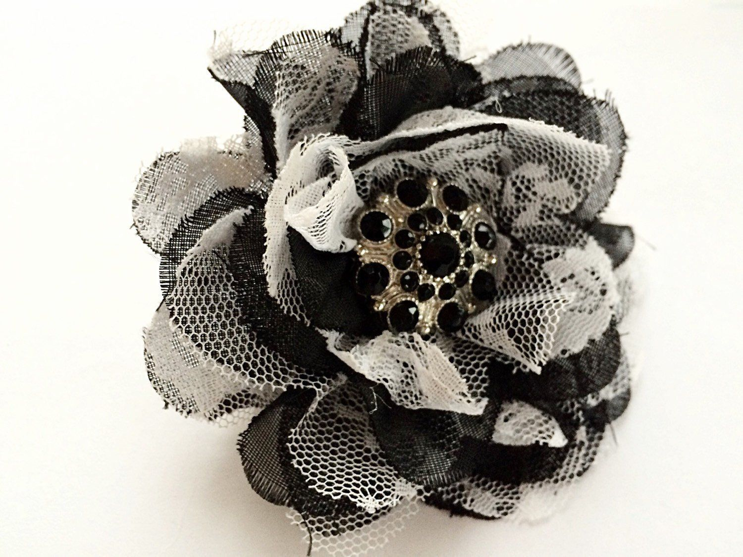 Womens Hair Fashion Large Flower Hair Clip Barrette Black And