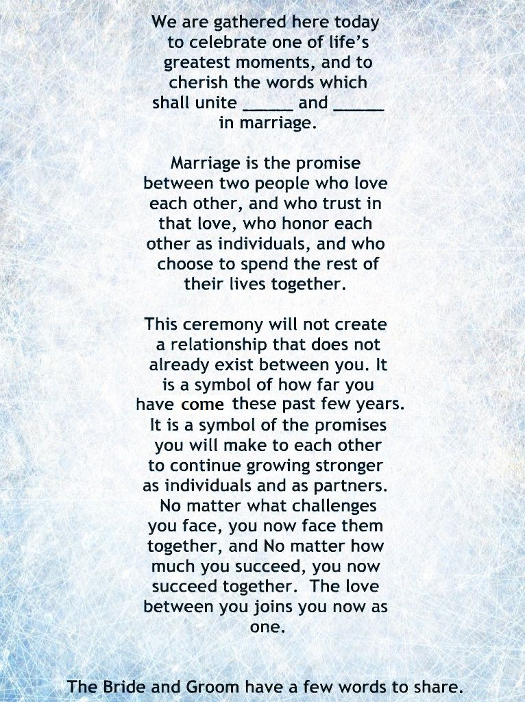 My Non-Religious, Short and Sweet Wedding Ceremony Script par 1 - wedding speech example