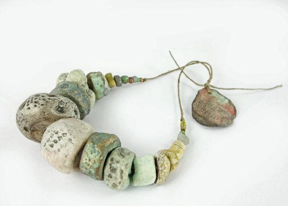 Artisan Ceramic BeadS Large collection rock pool by greybirdstudio, £45.00