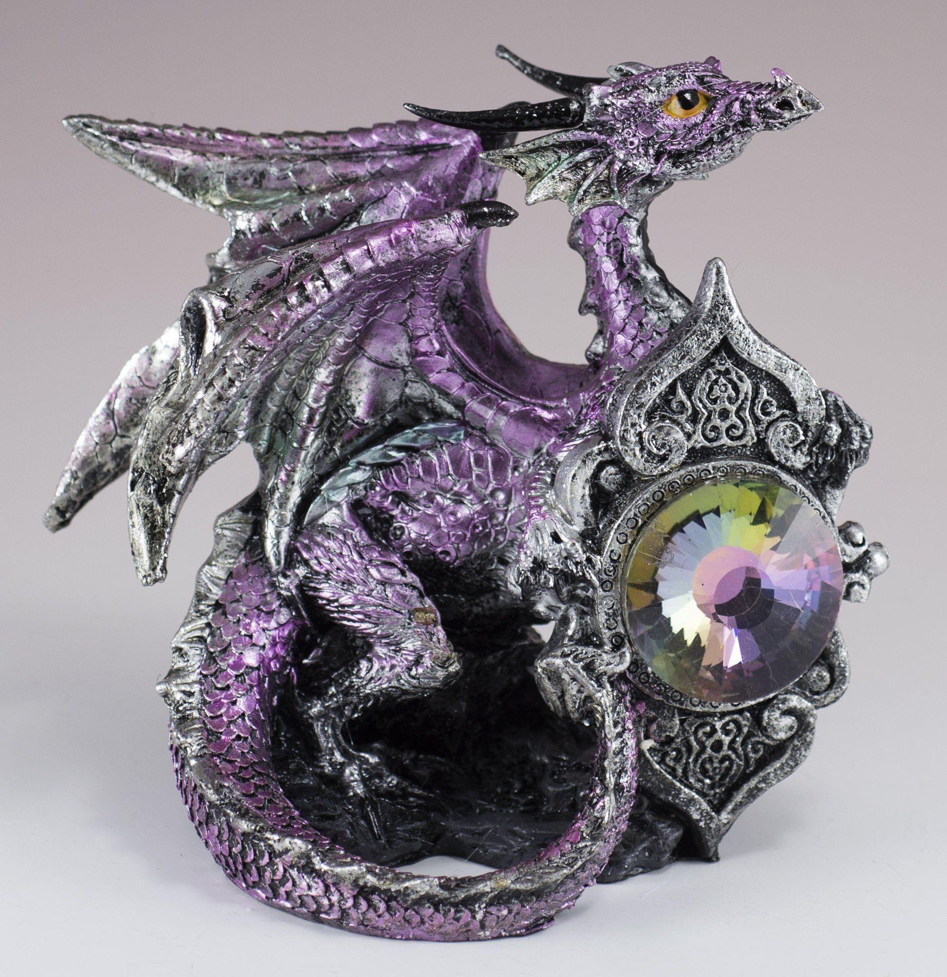 Dragon Beauty with Purple Rose Jewelry//Trinket Box Figurine