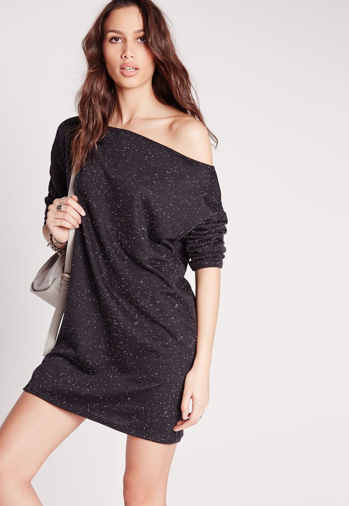 Up your day-time in this jumper dress. With its slash neck style and oversized fit, it's the ultimate in effortless dressing. The sexy shade of grey means it will look good teamed with every colour. We'll be wearing ours with trainers and a...