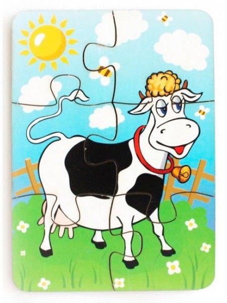 """Деревянный пазл """"Корова на лугу"""", 6 элементов, 274937 ..."""