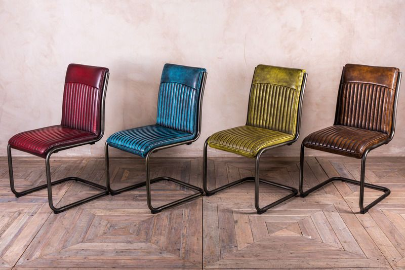Retro Style Upholstered Dining Chair Leather Look Colourful Chairs Ebay