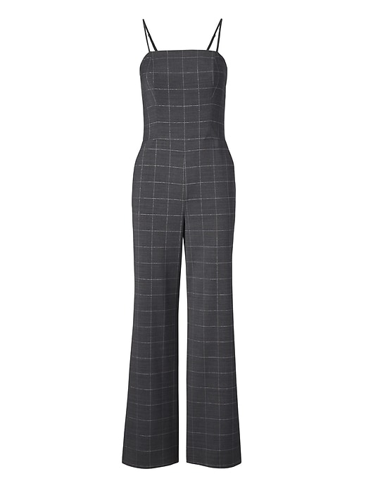 9a53555ee8c Banana Republic Womens Shine Plaid Strappy Jumpsuit Black   Charcoal ...
