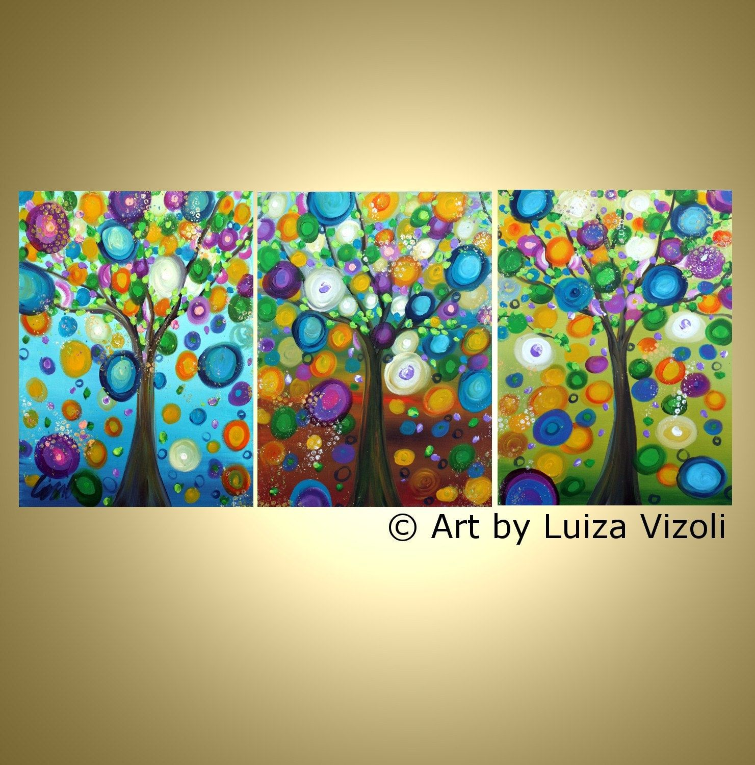 Image detail for -Abstract Painting RAINING FLOWERS Modern Trees Landscape Huge Painting ...