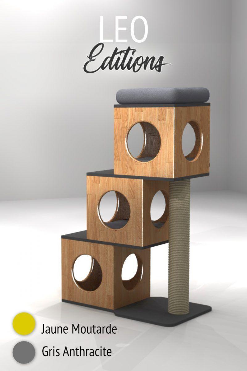 arbre chat titicatz leo en bois massif finitions au choix cat shelves pinterest chat. Black Bedroom Furniture Sets. Home Design Ideas