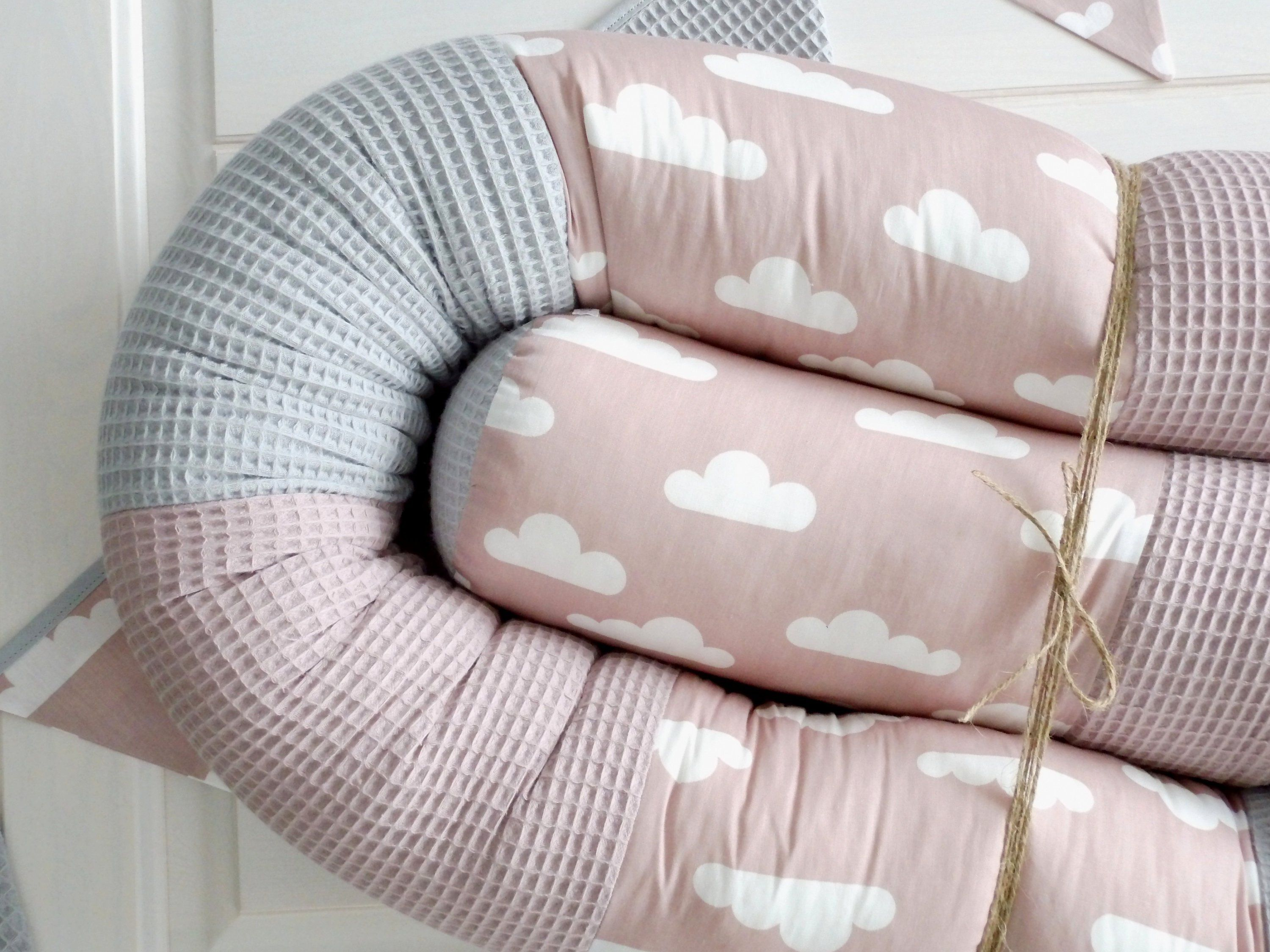 Bed Snake Alchrosa Waffle Pique Grey Clouds Baby Bed Border Cot Nests Baby Storage Roll Personalized Baby Bed Baby Storage Bed