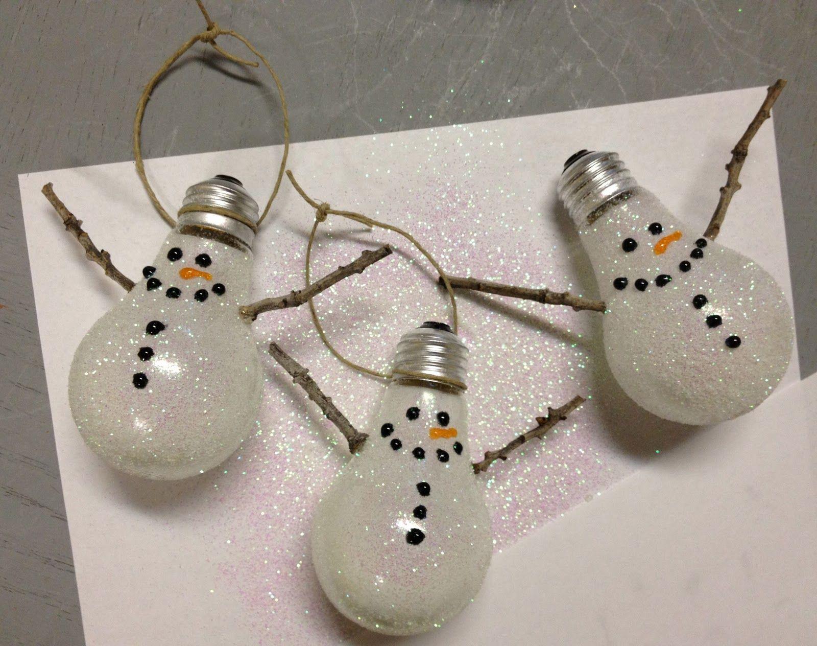 Lightbulb snowmen ornament.