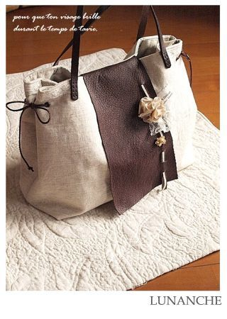 I like the brown flap (leather?Suede?) next to the linen bag.