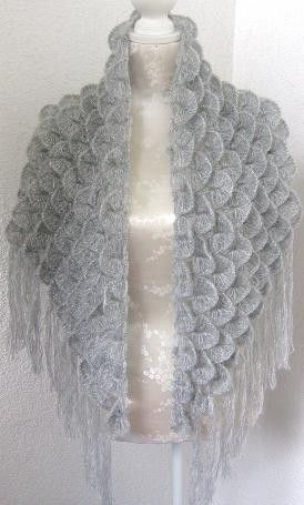 Triangle Mohair Shawl, Neckwarmer in Gray, Grey, Pastel with Glitter ...