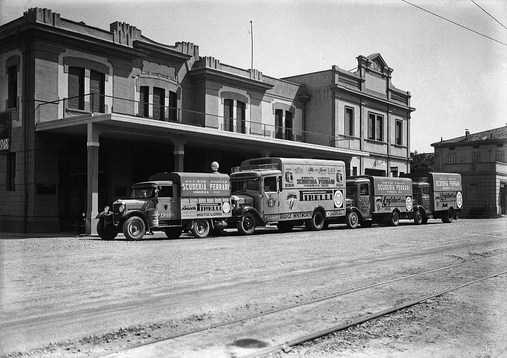 Ferrari's real talent was working behind the scenes. In 1929 he formed the Scuderia Ferrari, and the organization quickly became a force on Europe's racing scene. The Modena-based works are seen here in the early 1930s, with the team's support vehicles lining the front of the building. The Spitzley Zagari collection