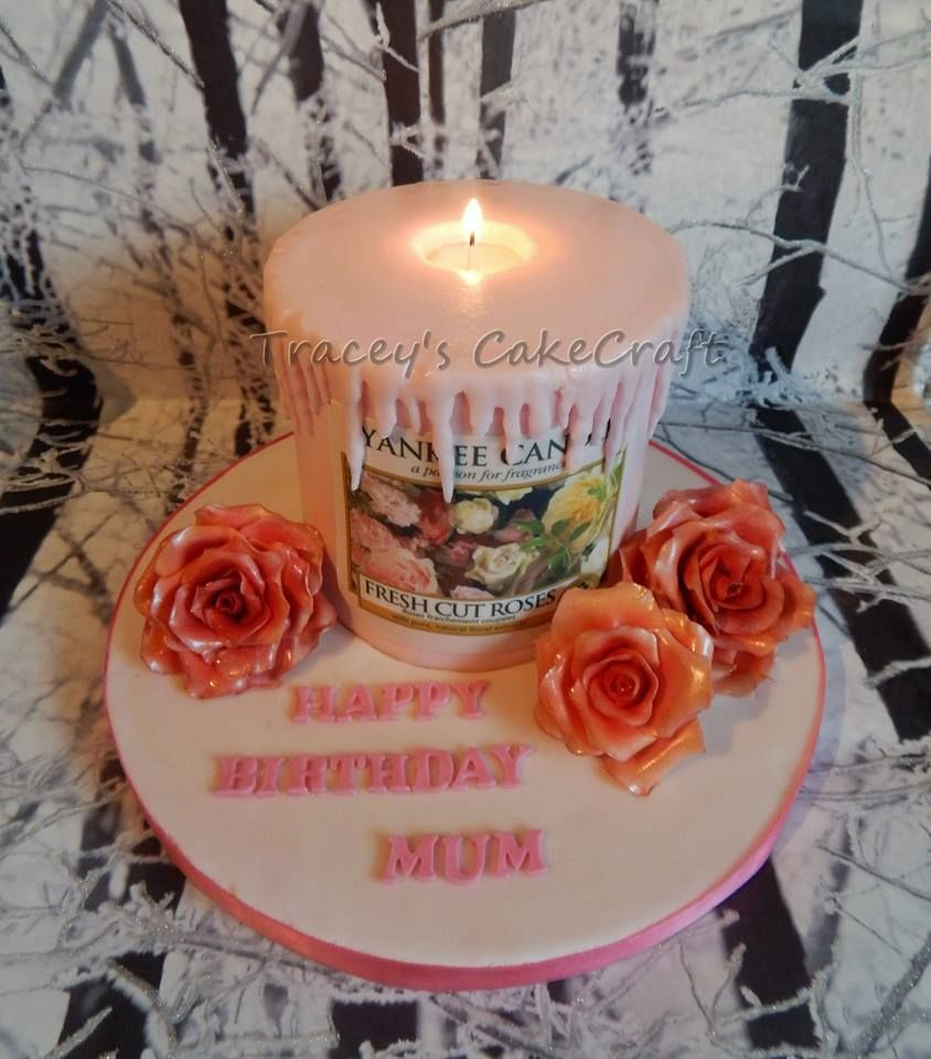Yankee Candle Cake White Chocolate Raspberry Birthday With Candles