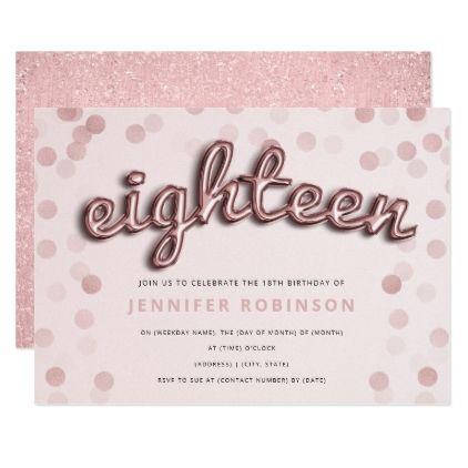 Rose Gold Blush Balloons Glitter 18th Birthday Invitation