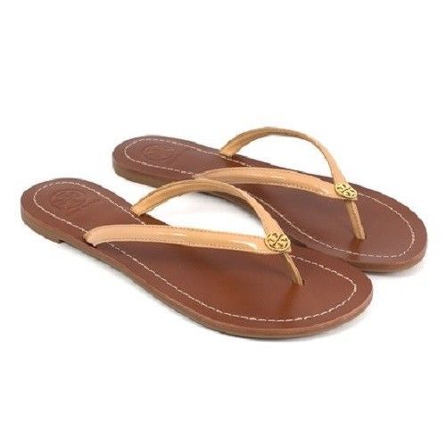 9601a8bbb1c TORY BURCH TERRA THONG SANDALS FLIP FLOP FLOPS SUN BEIGE PATENT LEATHER 6   ToryBurch  FlipFlops  VERSATILEFASHION