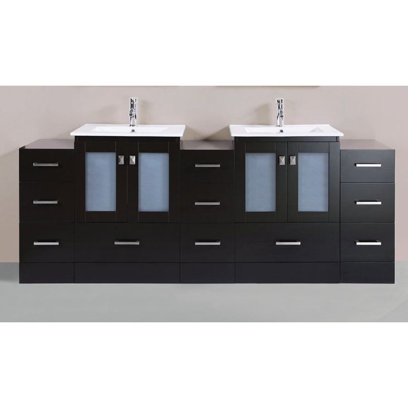 Pacific Collection Hermosa 84 in Double Bathroom Vanity with 24 in