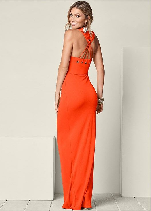 de439d5617ba Venus Women s Back Detail Maxi Dress - Orange