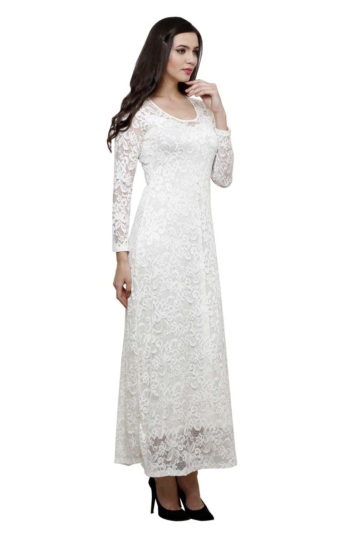 White Full Sleeve Net Dress Dresses Western Net Dress Full Sleeves Dress Evening Dress Fashion [ 1500 x 1001 Pixel ]