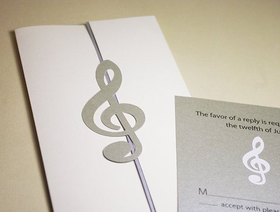 Wedding Invitations Treble Clef Classic Music Cutout By Naboko