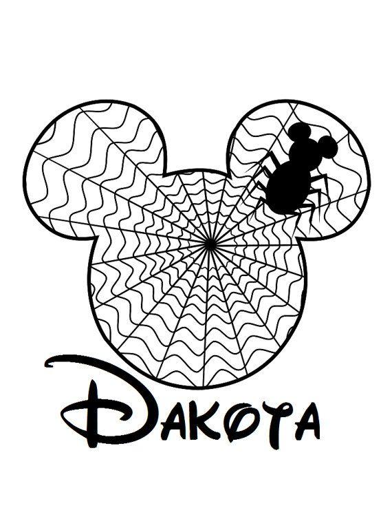 Custom Personalized Mickey Spider Web Iron On Transfer