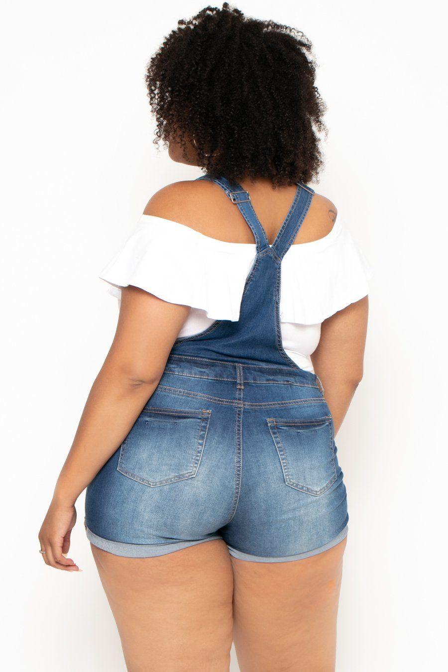 Plus Size Destroyed Basic Denim Overall Shorts - White ...