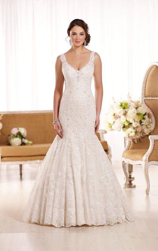 D1918 Gorgeous Lace Over Satin Wedding Dress By Essense Of Australia