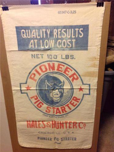 Vintage Pioneer Pig Starter Feed 100Lb Sack Hales Hunter Chicago, Illinois