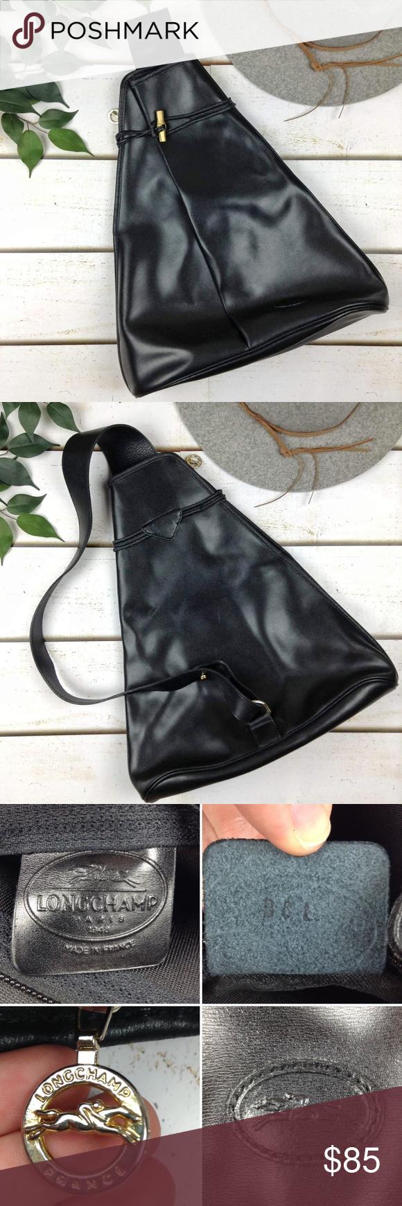 f51fd6637c6 Longchamp Vintage Roseau Leather Sling Backpack Vintage Longchamp Roseau  triangle one-strap sling black leather