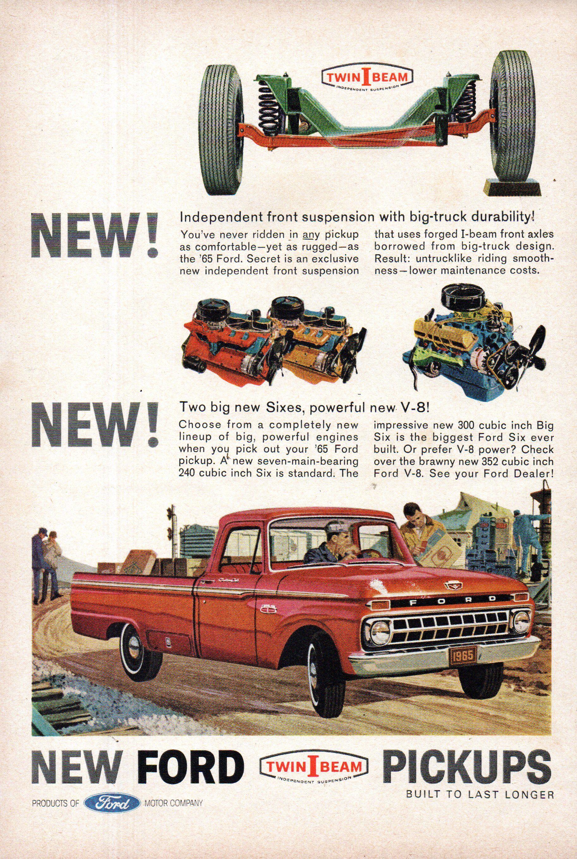 65 Ford Pickup : pickup, Series, Pickup, Truck, Original, Magazine, Advertisement, Pickup,, Trucks,, Trucks