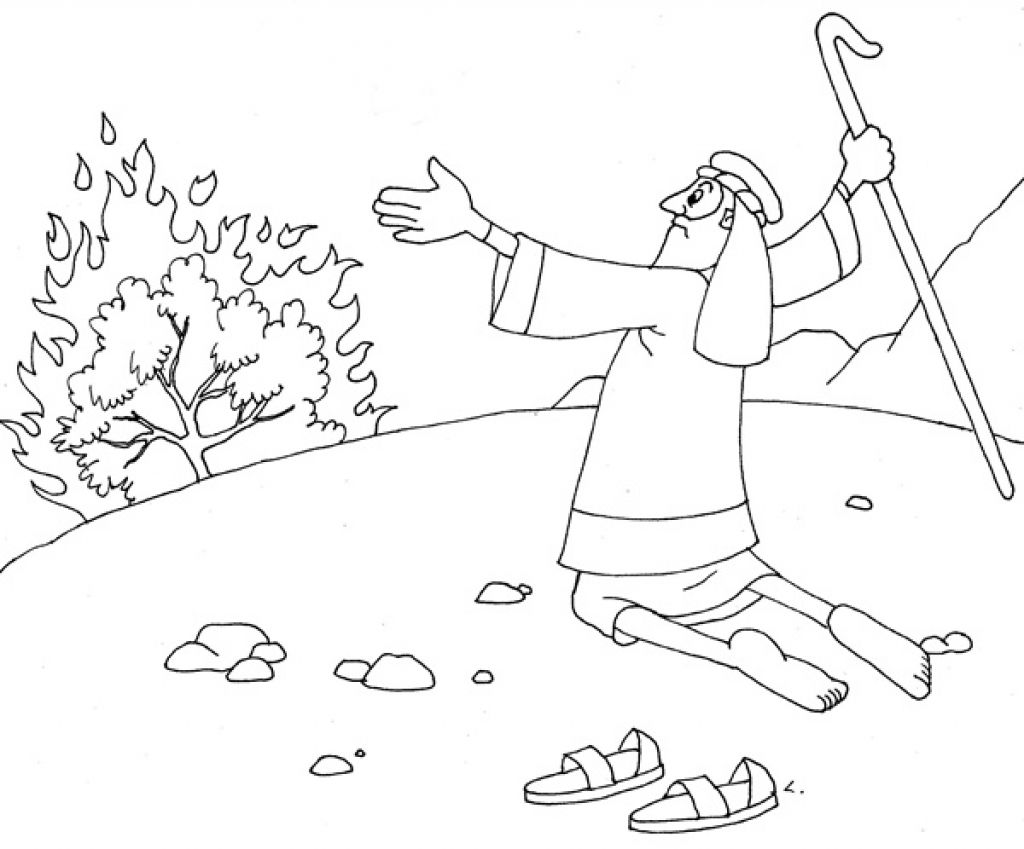 Moses And The Burning Bush Coloring Pages Sunday School Coloring