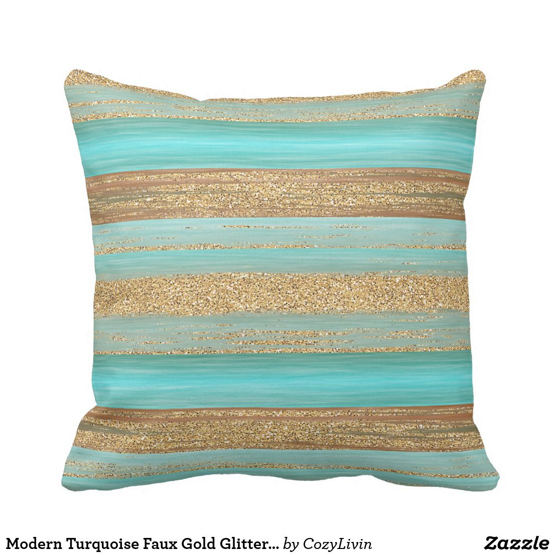 Modern Turquoise Faux Gold Glitter Stripes Pattern Outdoor Pillow   Zazzle.com images