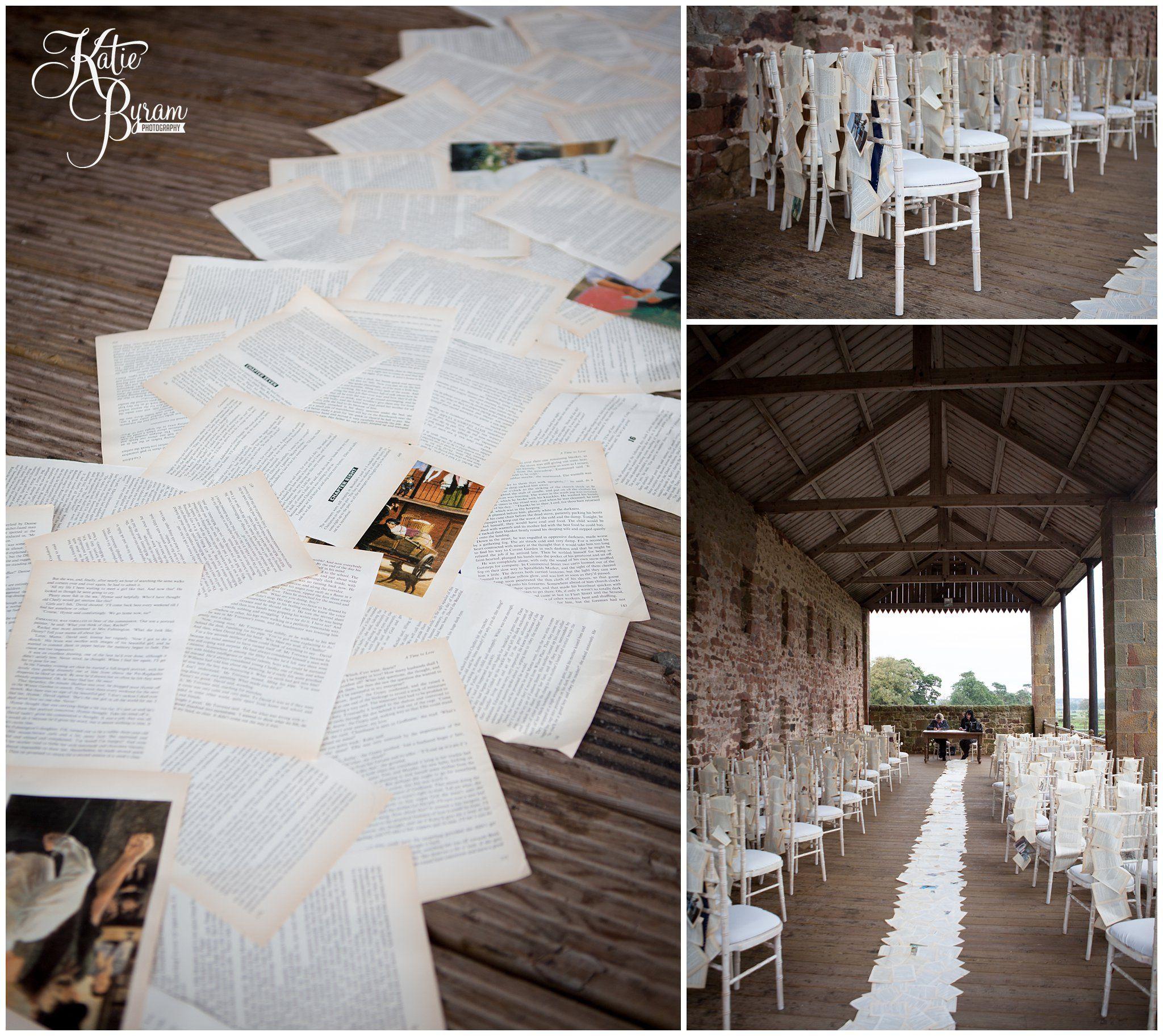 High House Farm Brewery wedding, book themed wedding, aisle runner ...