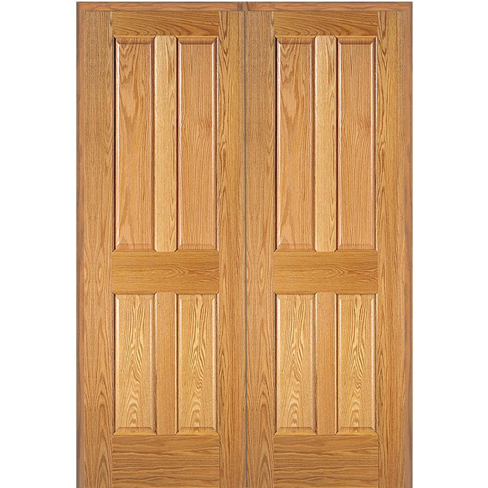 Mmi Door 72 In X 80 In 4 Panel Unfinished Red Oak Wood Both Active