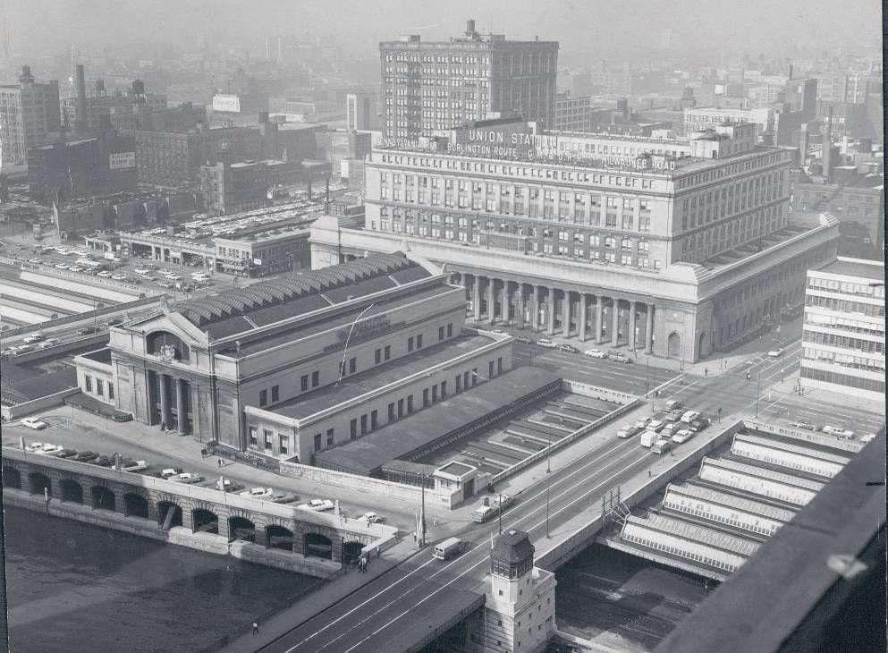 Photo Chicago Union Station And Surroundings Aerial From