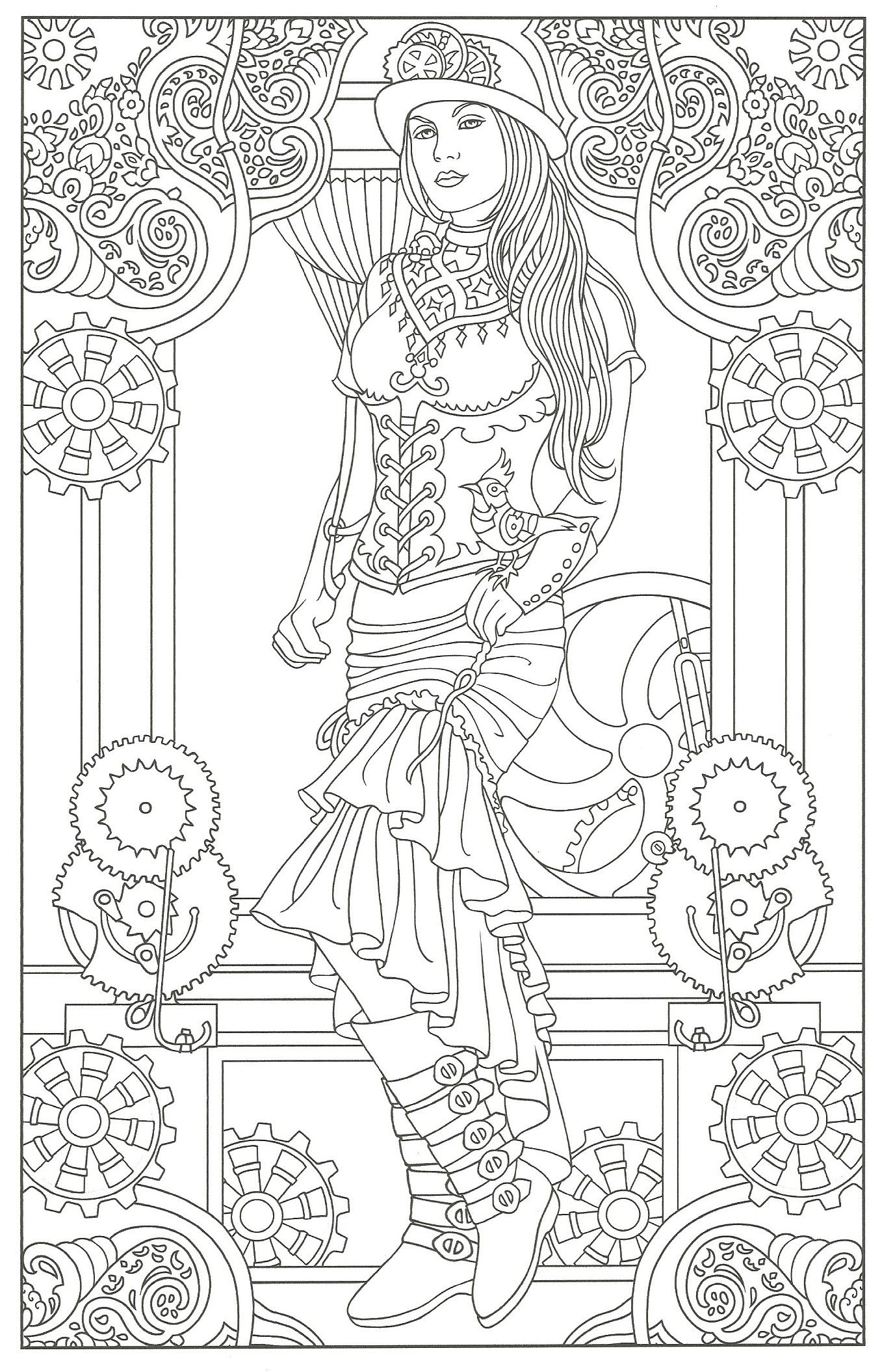 Flower drawings on pinterest dover publications coloring pages and - Creative Haven Steampunk Fashions Coloring Book Dover Publications Davlin Publishing