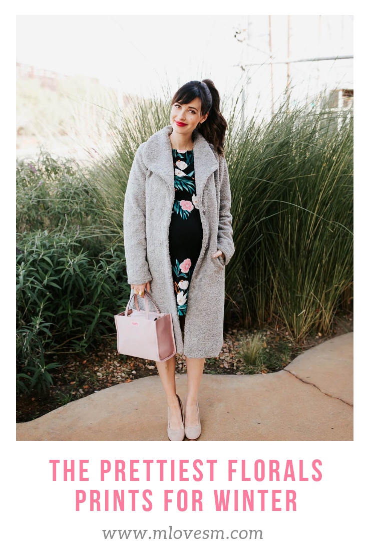 bfd870653db I love this winter floral dress from Eliza J! Paired with a pink Kate Spade  purse and a grey teddy bear coat from Nordstrom.