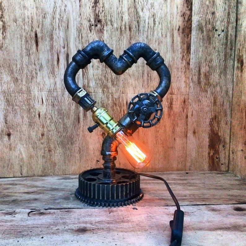 Heart Table Lamp Valentines Gift For Him Love Gift Desk Etsy Heart Lamp Lamp Steampunk Lamp